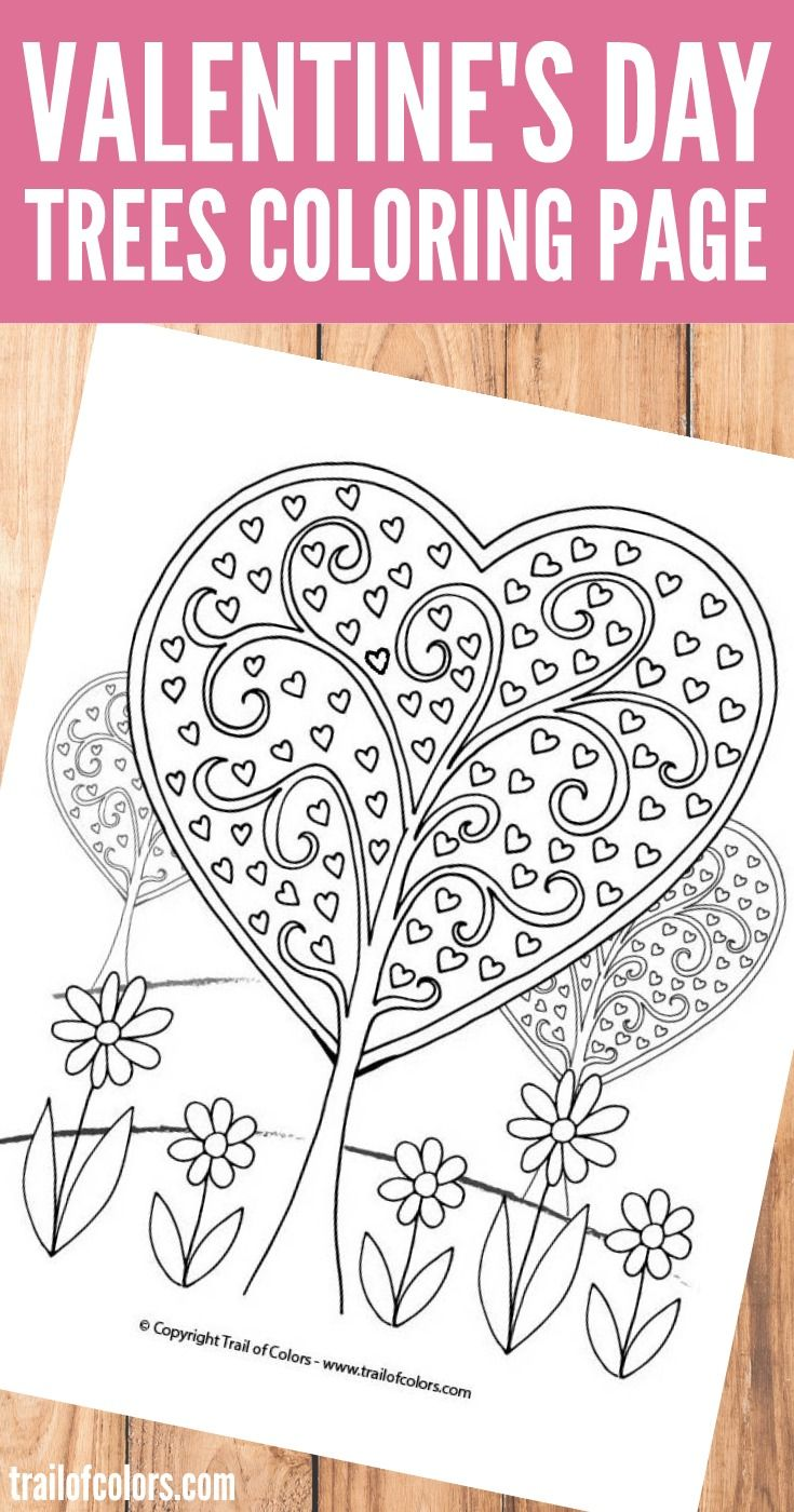 Heart Trees Valentines Day Coloring Page Heart Coloring Pages
