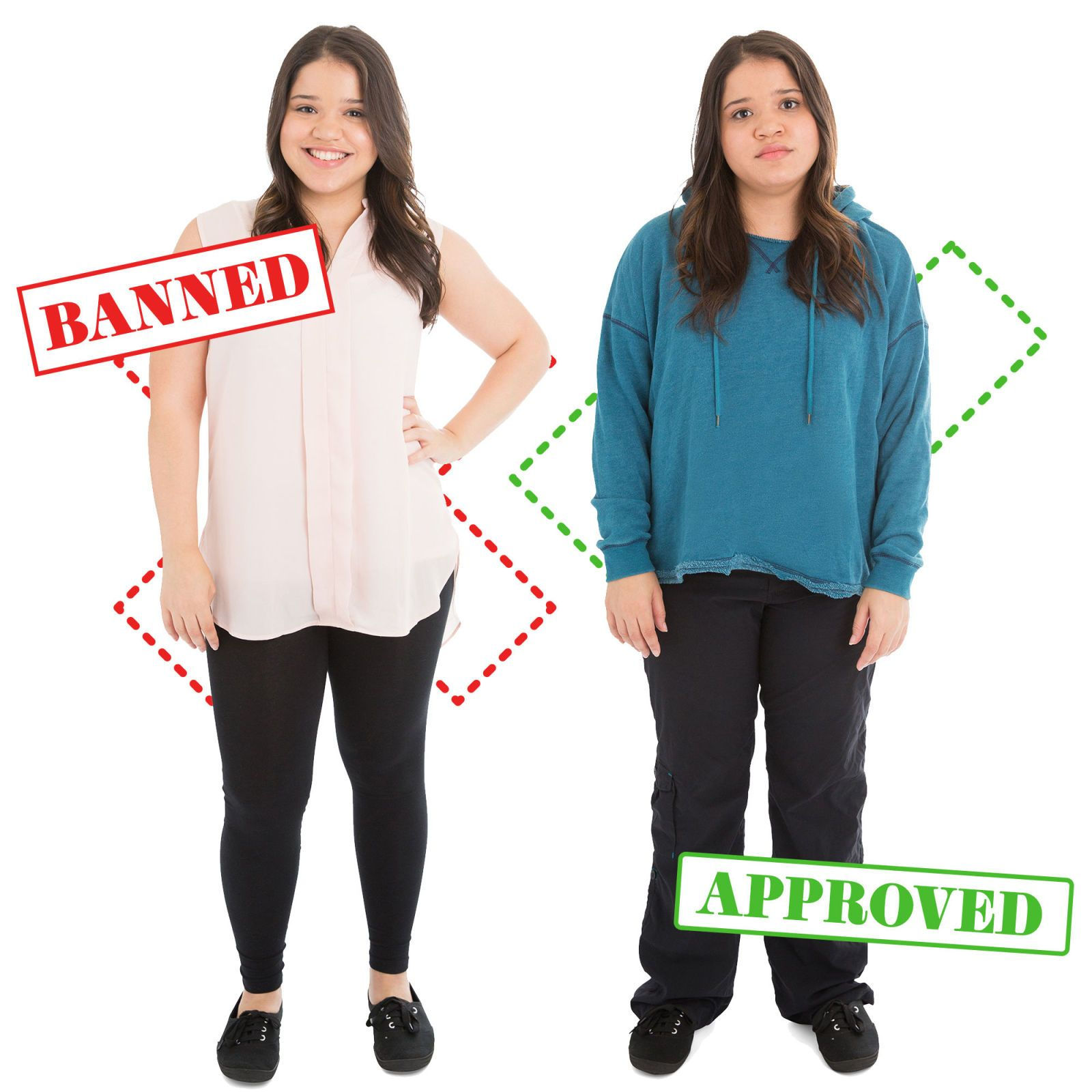 32b40b500f 10 Banned Vs. Approved Outfits That Show How Ridiculous School Dress Codes  Really Are - Seventeen.com