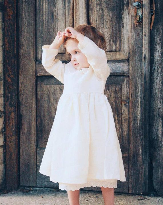 Girl Linen Dress - Linen Girl Dress - Vintage Style - Peter Pan ...
