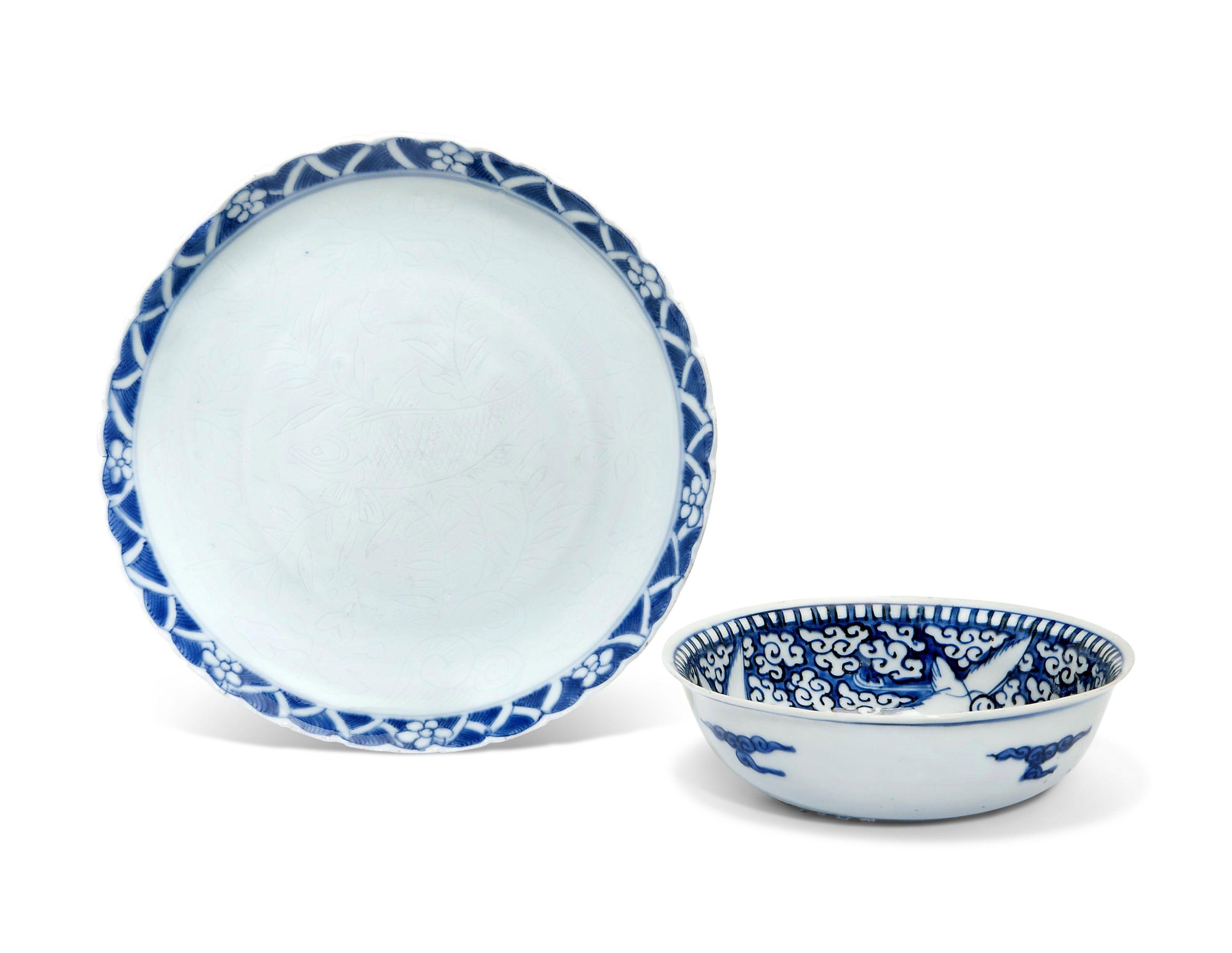 A Blue And White Crane Bowl And A Blue And White Anhua Foliate Dish Blue White White Crane White Ceramics