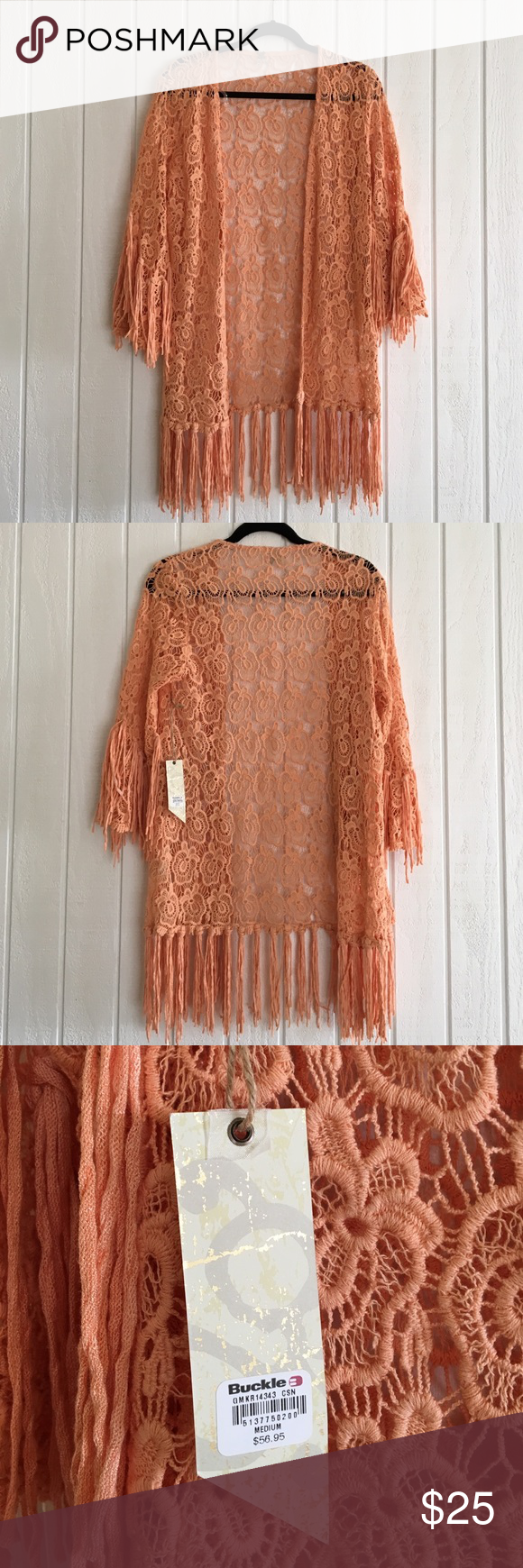Lacy cardigan with fringe Peach lacy cardigan with fringe. Brand new never worn BKE Sweaters Cardigans