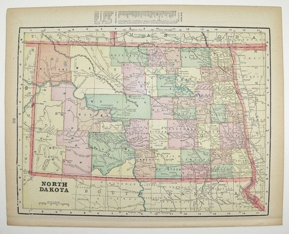 North Dakota Map Minnesota Map State County Map Antique Map - Old state maps for sale