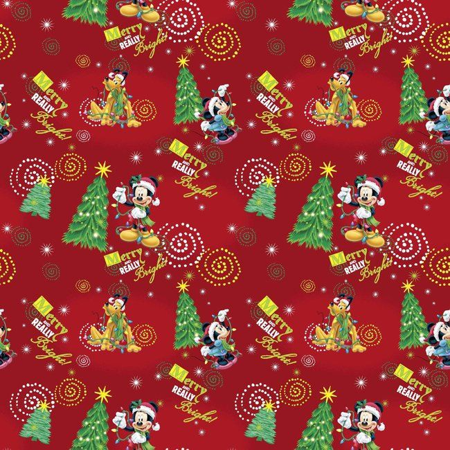 disney mickey mouse merry really bright christmas tree tossed on red cotton fabric by the - Disney Christmas Fabric