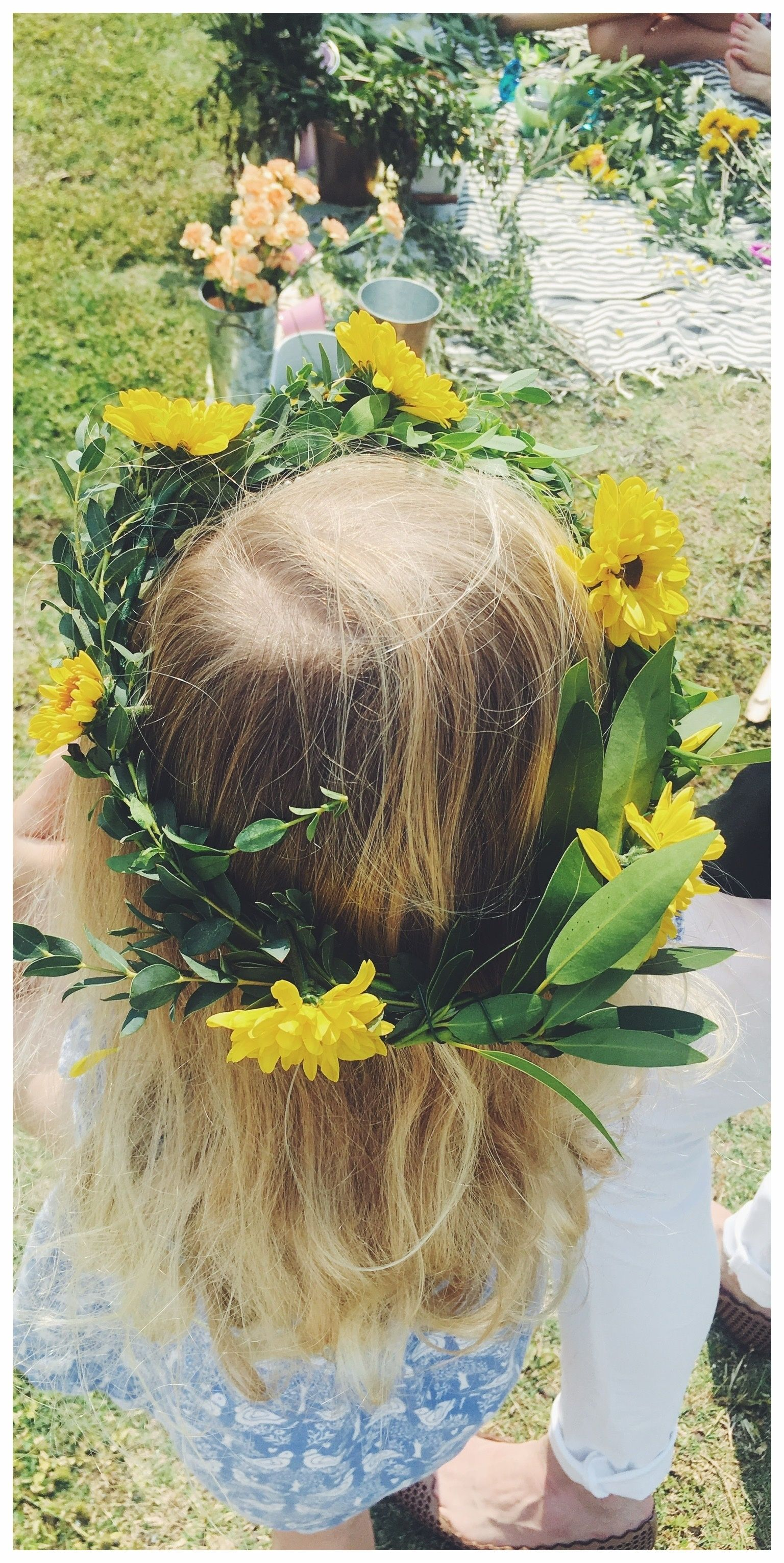 Lets flower party picnic style real flower bracelets real flower yellow and green flower crowns for kids izmirmasajfo