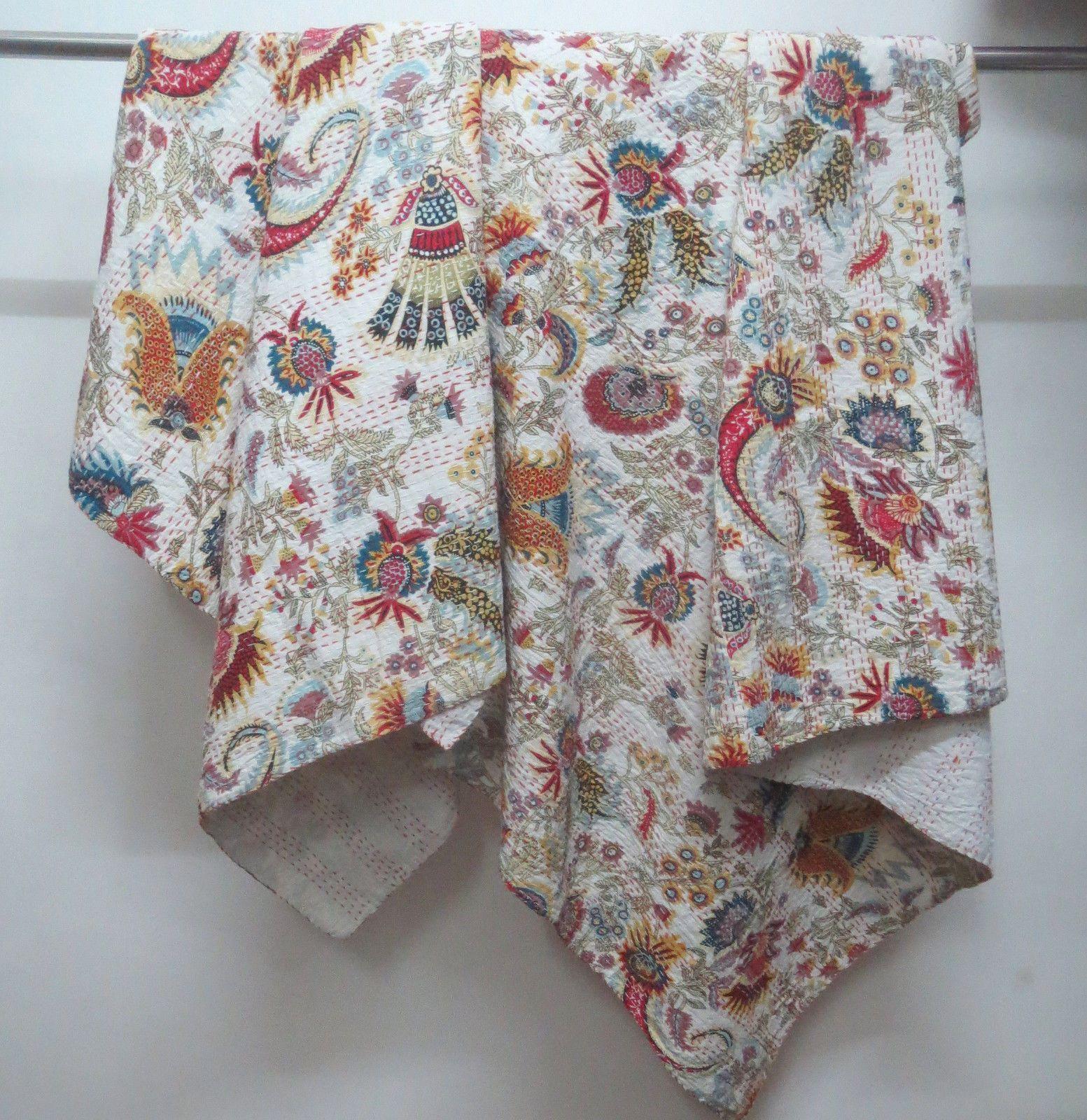 Quilts handmade queen antique indian quilt jaipur blanket throw sari