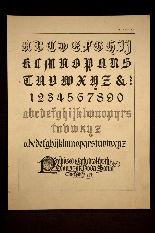 Lettering Print Alphabet Wall Decor Art Sample Plate Roman Antique ...