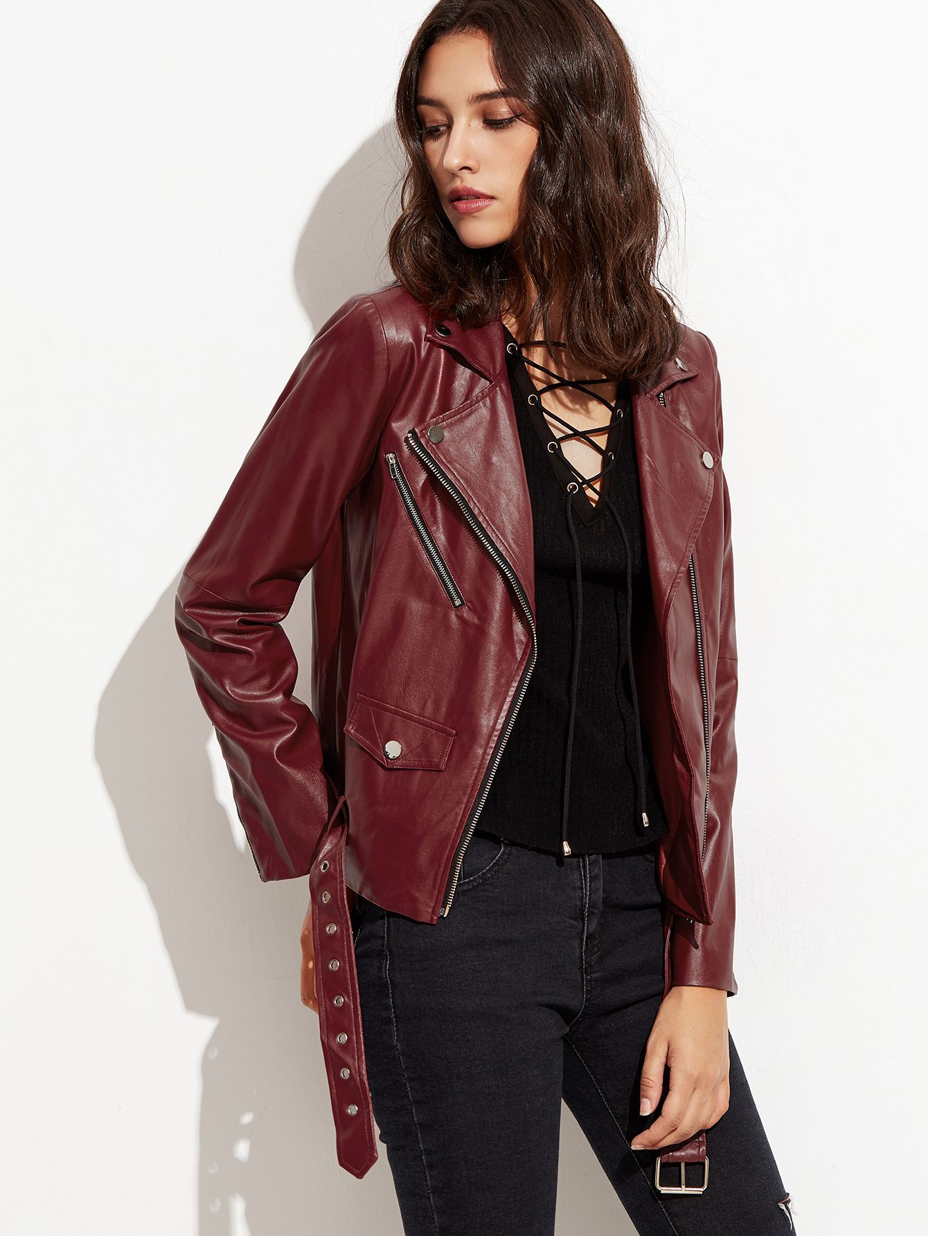 Shop Burgundy Faux Leather Buckle Hem Asymmetric Hem Biker
