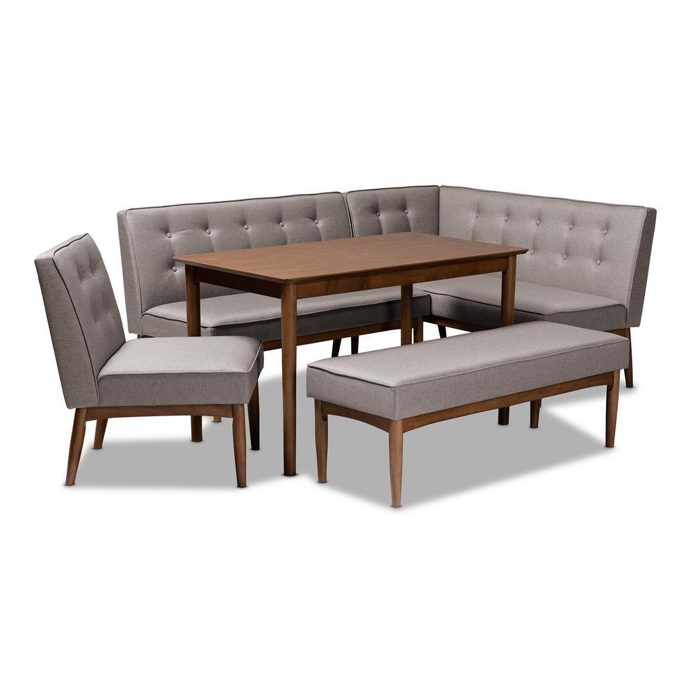 Baxton Studio Arvid 5 Piece Gray Dining Nook Set 155 93059307 Hd