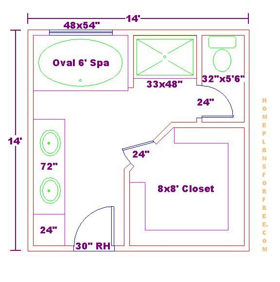 Master Bathroom Layout, Bathroom Floor Plans, Master