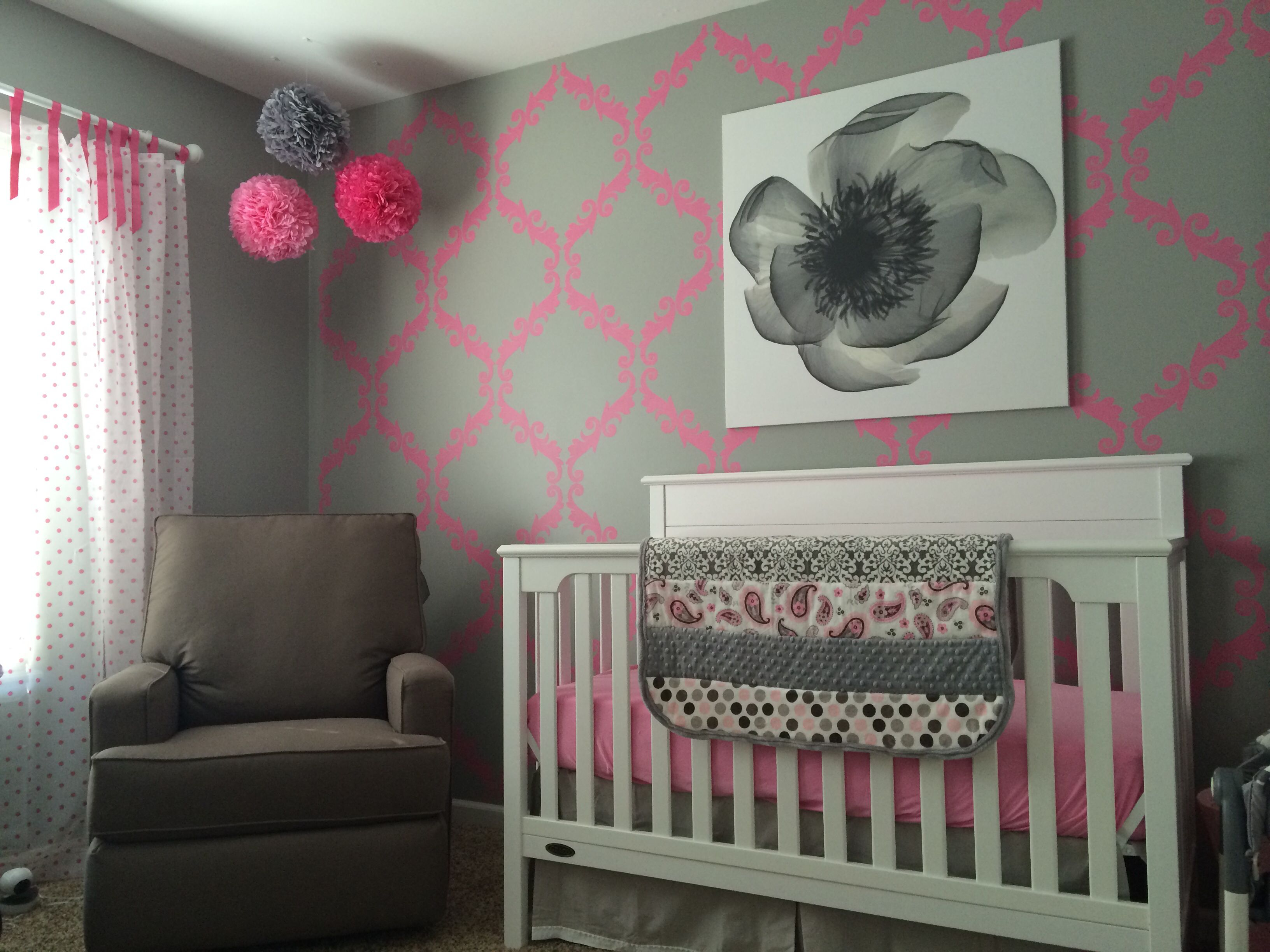Baby Girl Nursery Sw Ellie Gray And Vivacious Pink Wall Stencil
