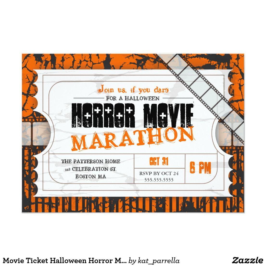 Movie Ticket Halloween Horror Movie Party Invitation
