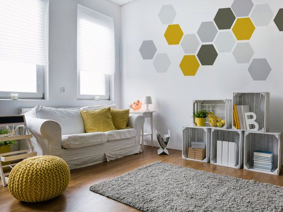 Geometric removable wall art 8 wall stickers yellow - What type of paint for living room walls ...