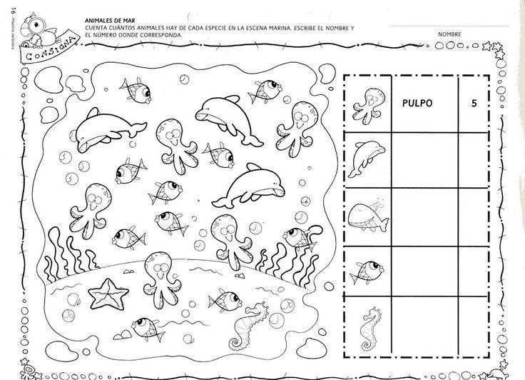 Sea Animal Number Count Worksheet
