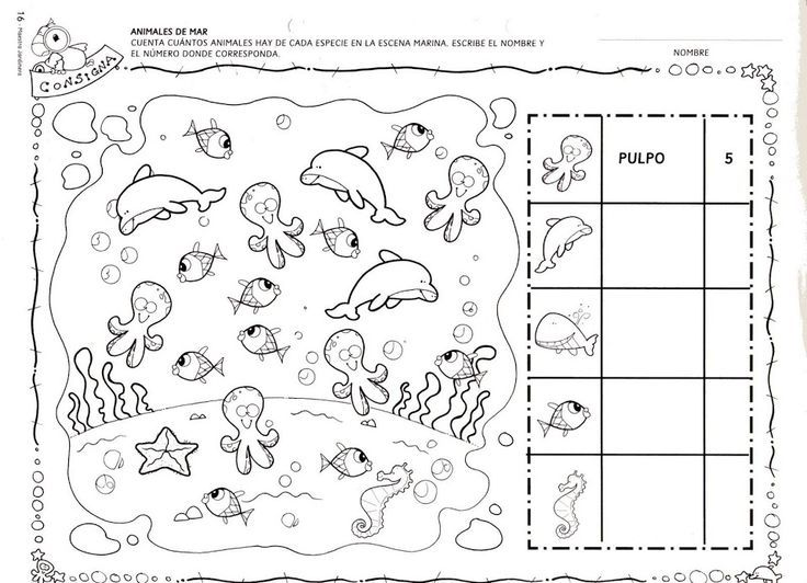 sea animal number count worksheet | Matemàtiques