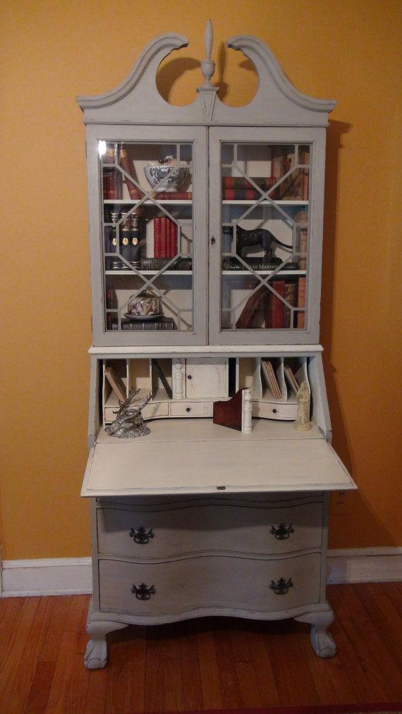 Painted Antique Secretary Desk In French Linen And By Thistlebleu