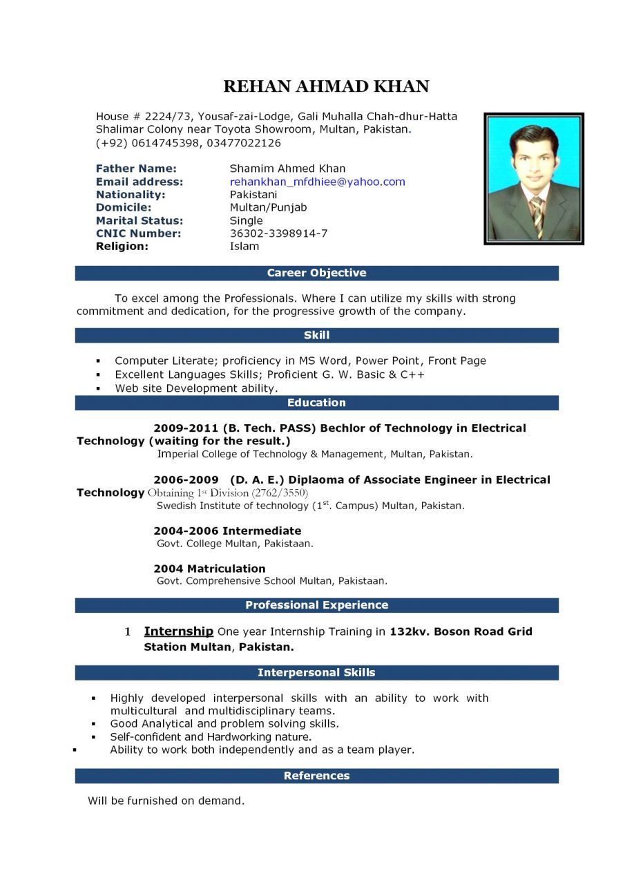 Biodata Model For Job Biodata Model For Job Application Biodata Sample For A Job Bio Microsoft Word Resume Template Resume Template Word Resume Format Download