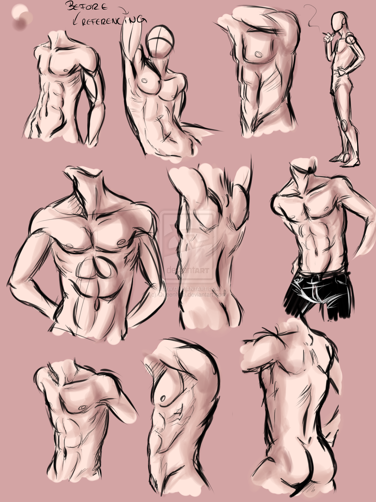 Male Anatomy Practice By Queennati Anatomy Drawing Pinterest