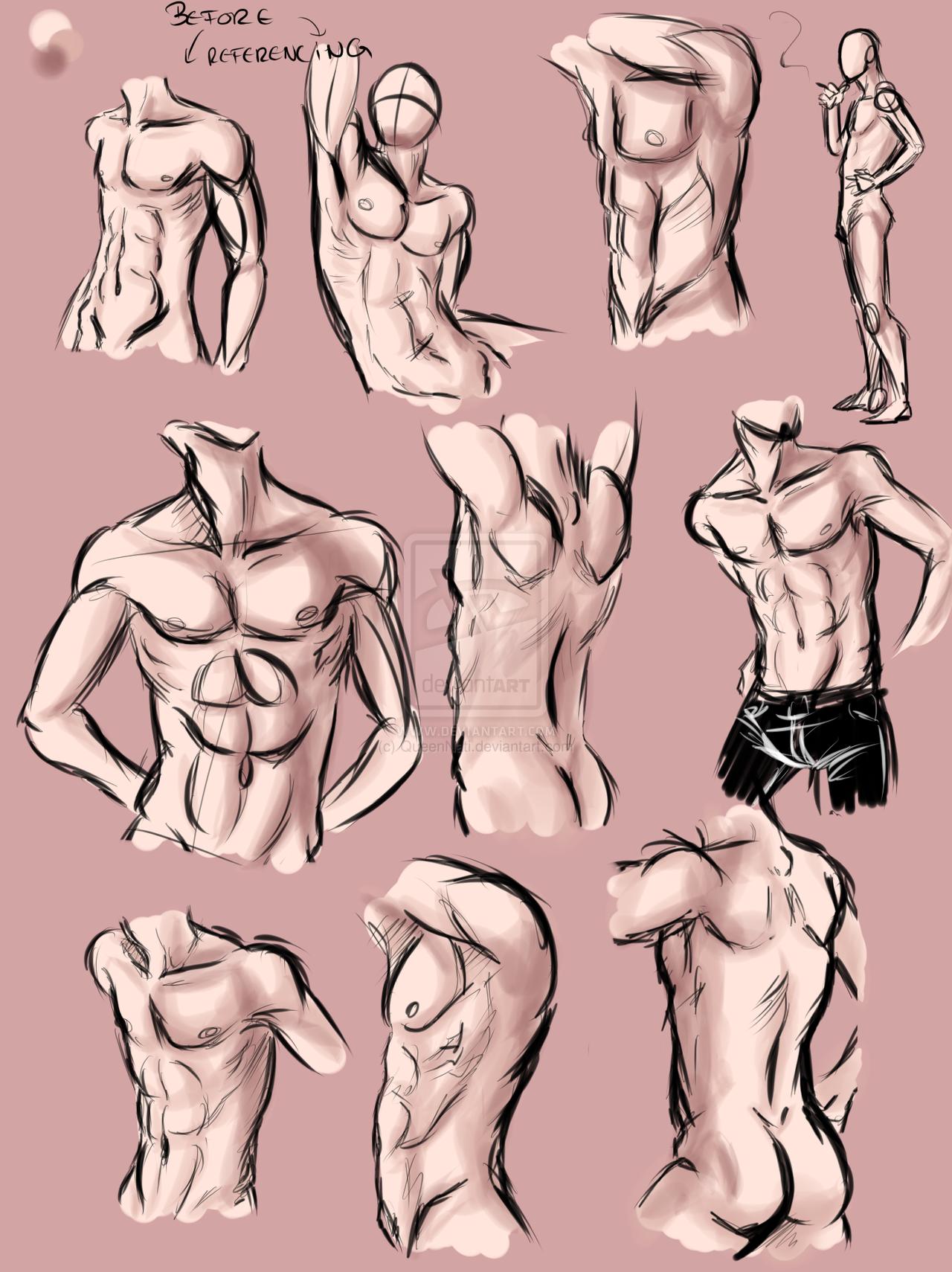 male anatomy practice by queennati | Art Help | Pinterest | Anatomy ...