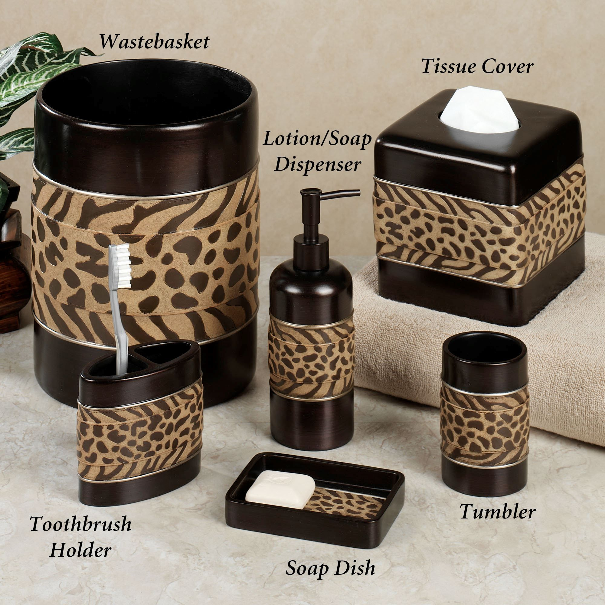 The Cheshire Animal Print Bath Accessories Feature Primal Beauty That These Natural Designs Have Always Evoked Cheetah And Zebra Pattern Bands Add A