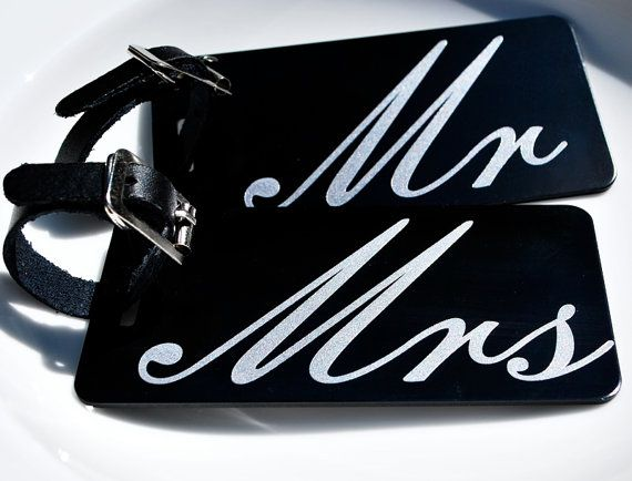 Two Mr. & Mrs. sturdy Luggage Tags  Bride by CherishedSentiments, $19.00
