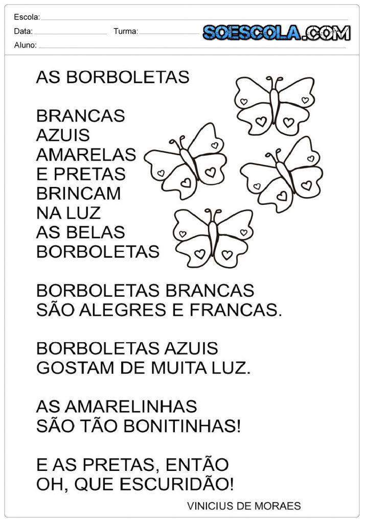 Poemas As Borboletas Vinicius De Moraes Poesia Para Educacao
