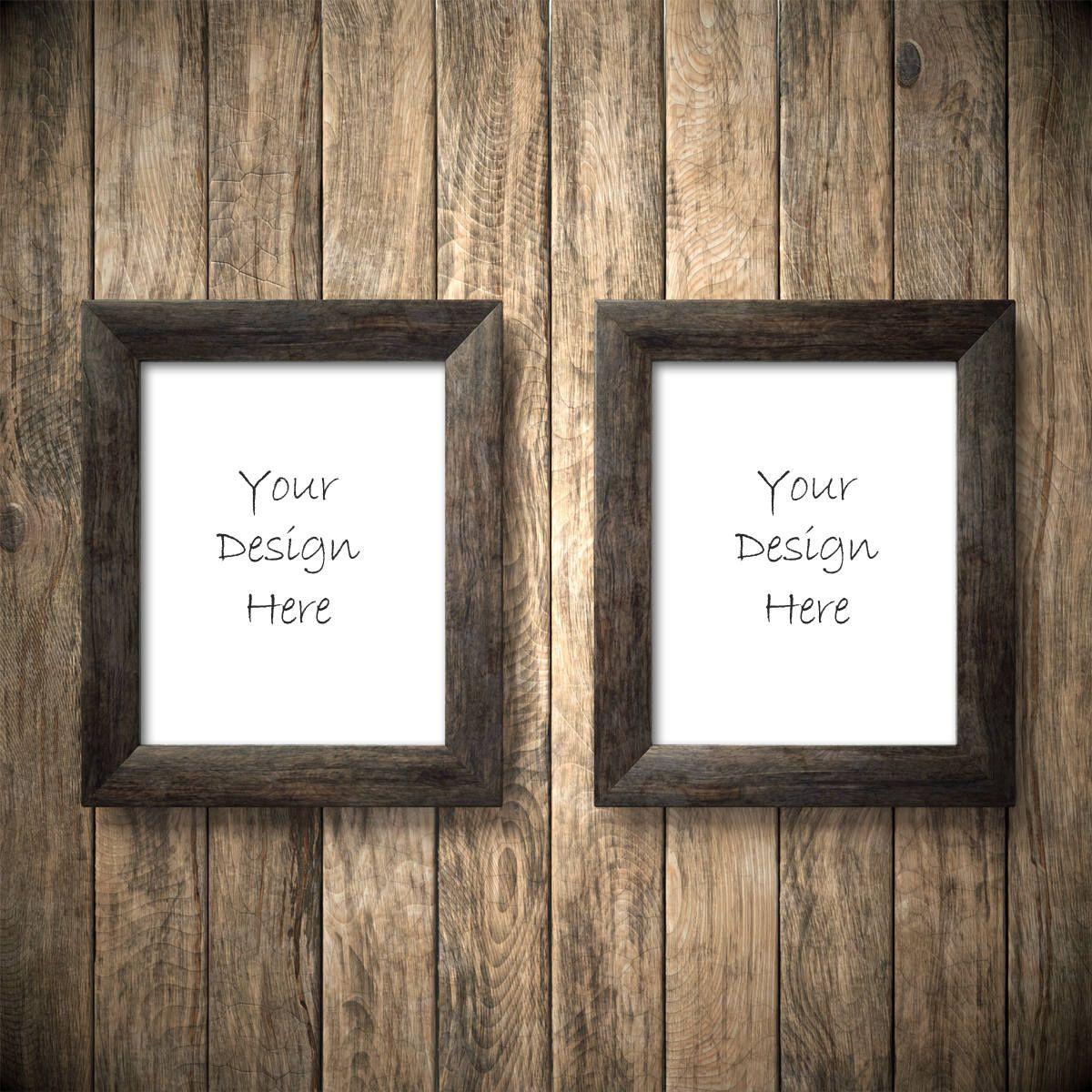 2 frame mockup, 8x10 frame mockup, rustic wood frame mockup, 2 ...