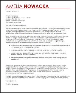 Wzór List Motywacyjny Inżynier Kontroli Procesu Livecareer Cv