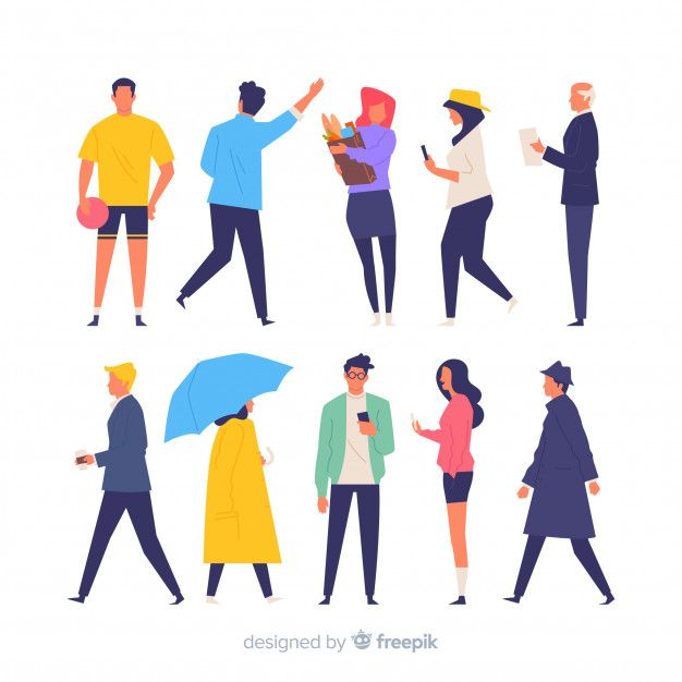 Colorful Hand Drawn People Doing Different Actions Vector Free