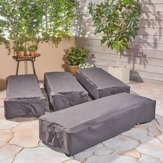 Shield Outdoor Chaise Lounge Cover (Set of 4) by Christopher Knight Home ( Grey & Shield Outdoor Chaise Lounge Cover (Set of 4) by Christopher Knight ...