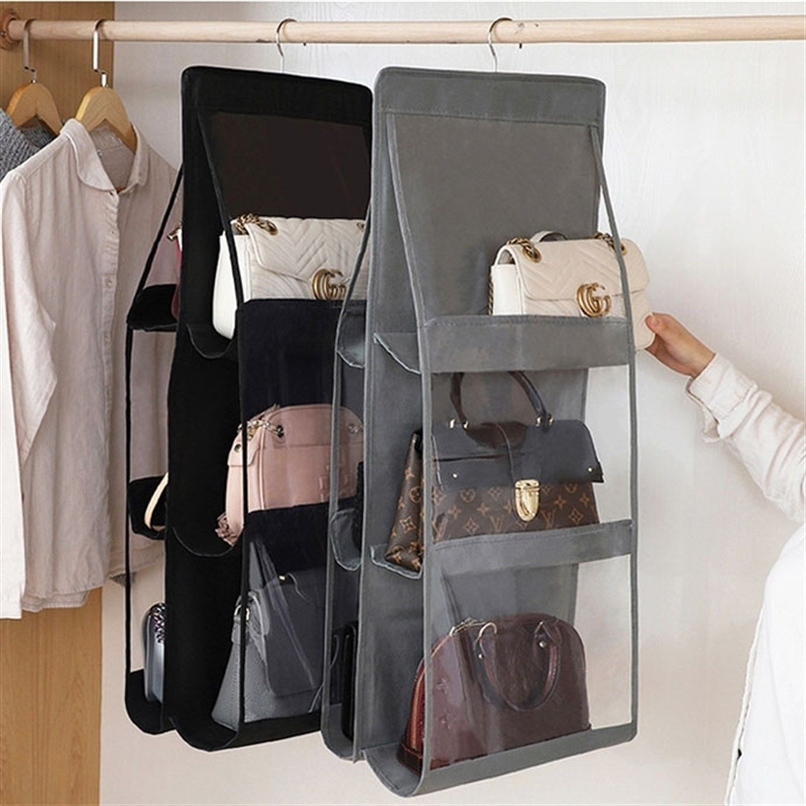 Hanging Storage Organizer 6 Pockets Hanging Purses Hanging Storage Bag Storage