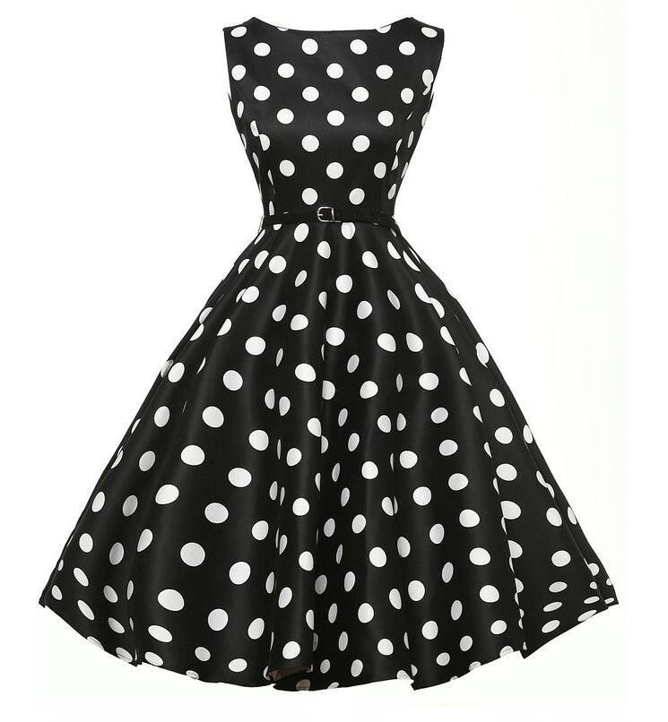 e27627c02c7f Belted Black Polka Dot Vintage Dress | CLOTHING I WANT | Vintage ...