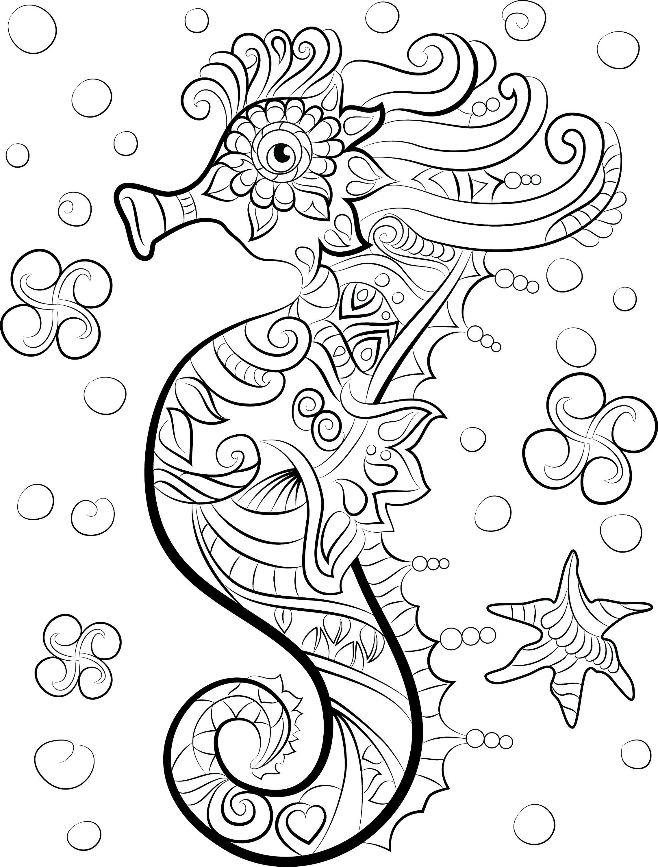 Sea Horse Adult Coloring Page Under the Sea Digital