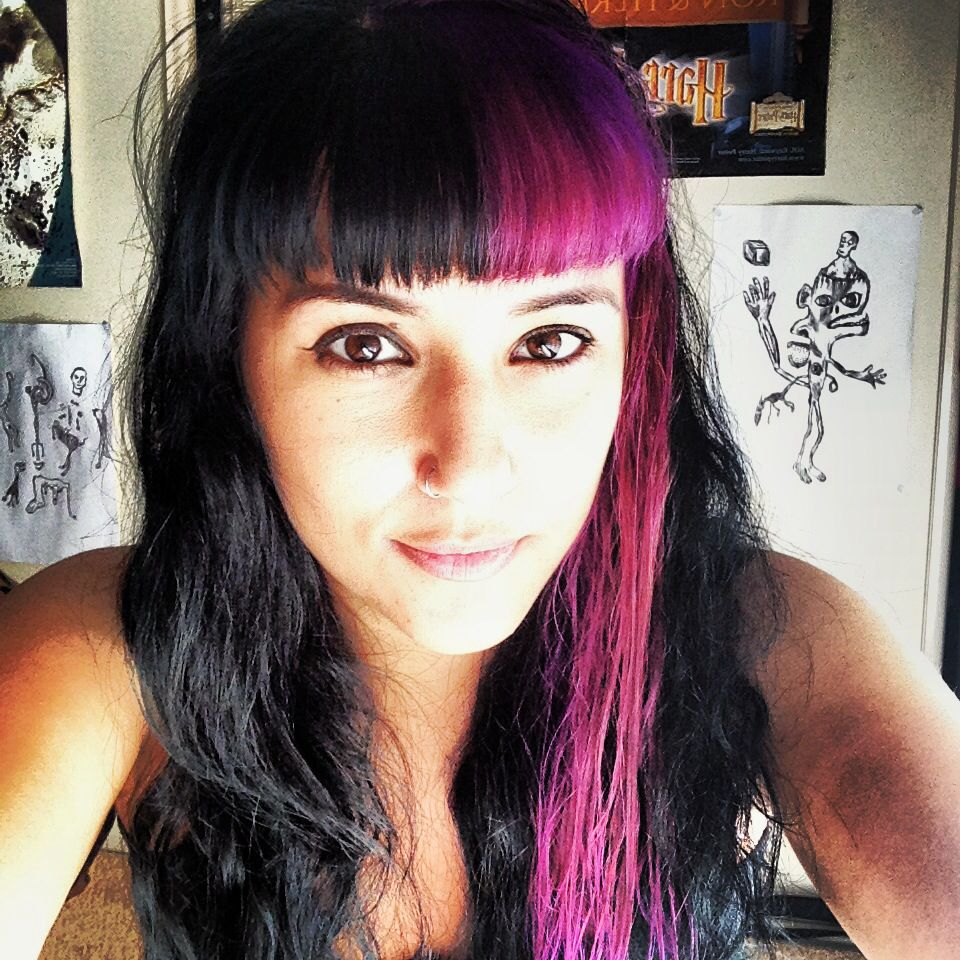 Two Toned Hair Black And Purple Hair Color Ideas In
