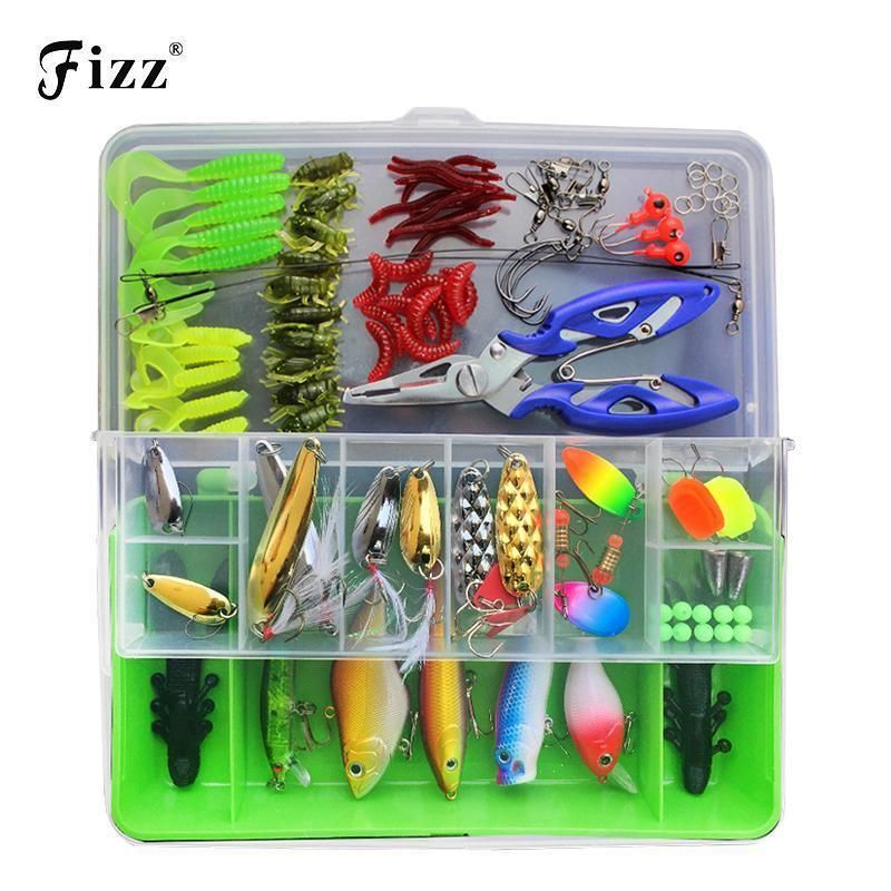Set Minnow Fishing Lures Popper Bass Tackle Spinners Soft Bait Pike Trout Salmon