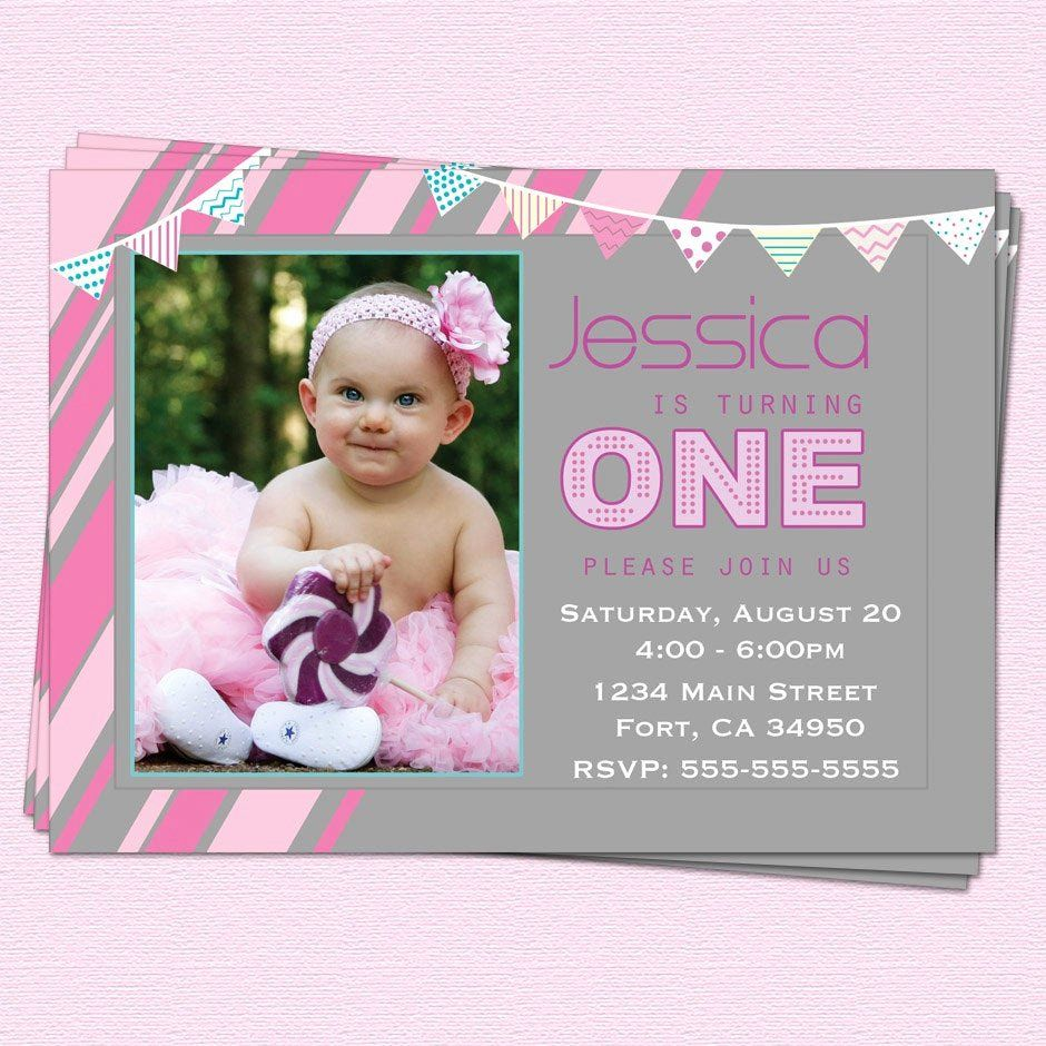 First Birthday Party Invitation in 2020 1st birthday