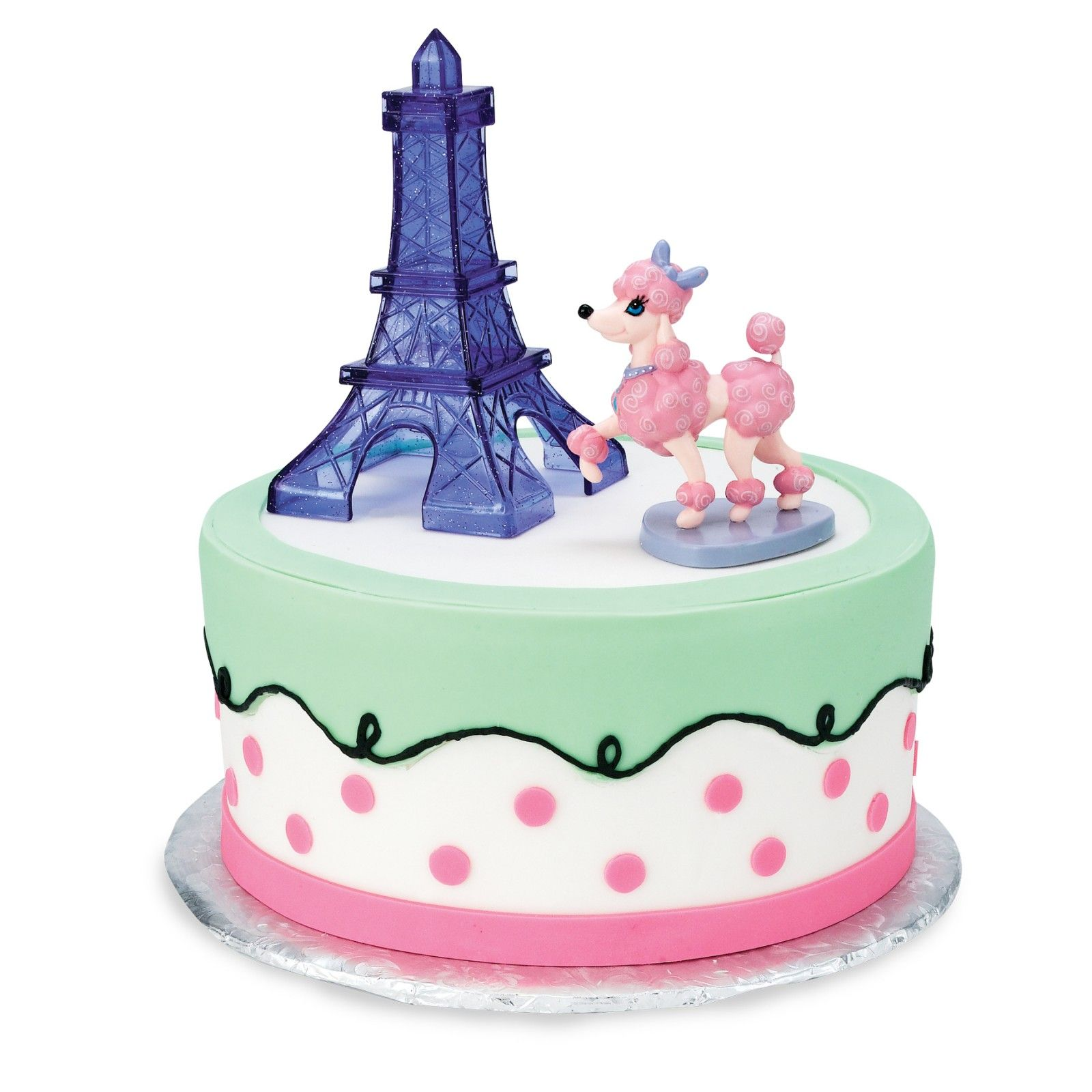 Pink Poodle in Paris Cake Toppers 2 Pieces Paris cakes Pink