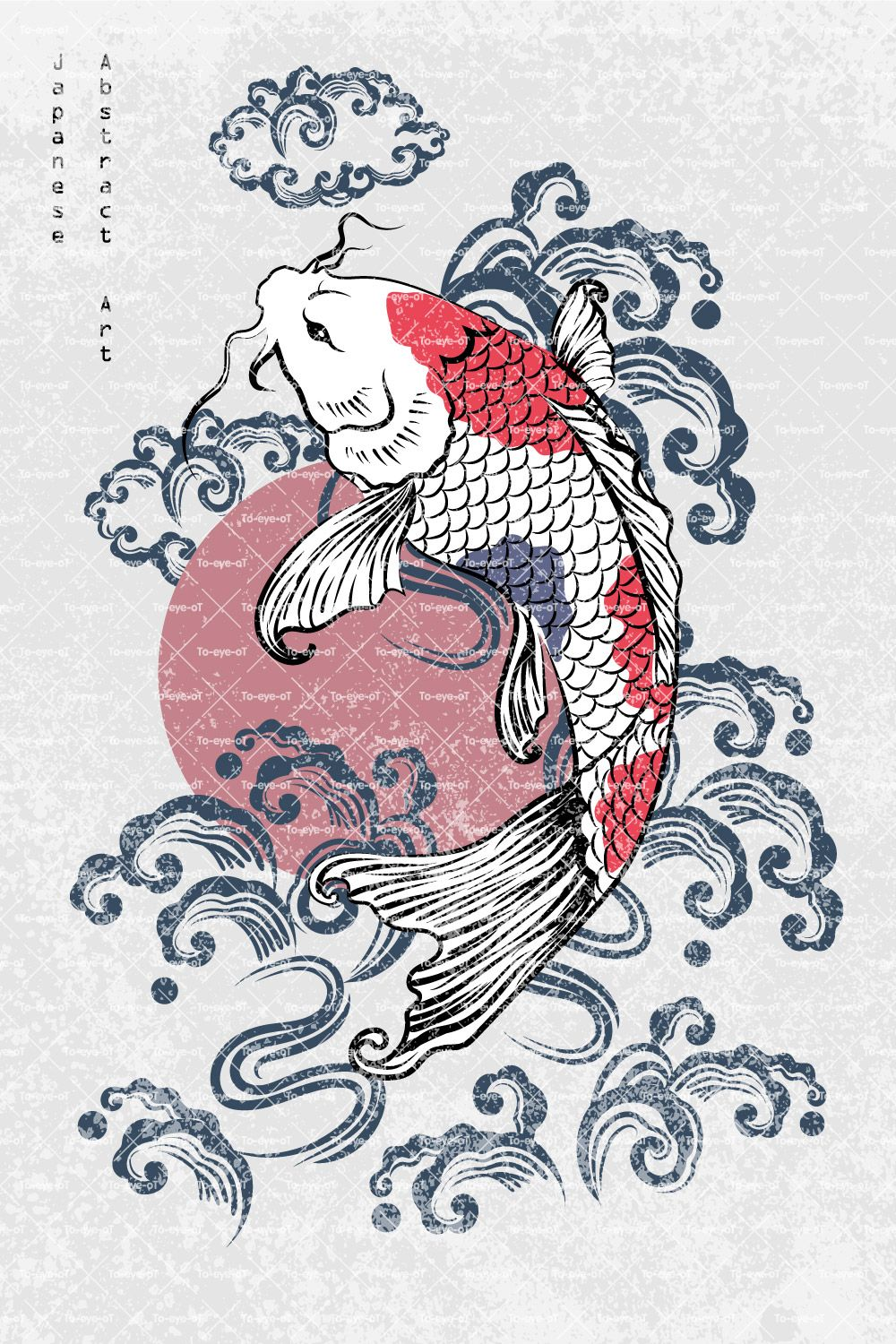 Abstract Art Single Koi Carp Fish with Blue & Red Scale Flying on Blue Brushed Water Splash and Sun