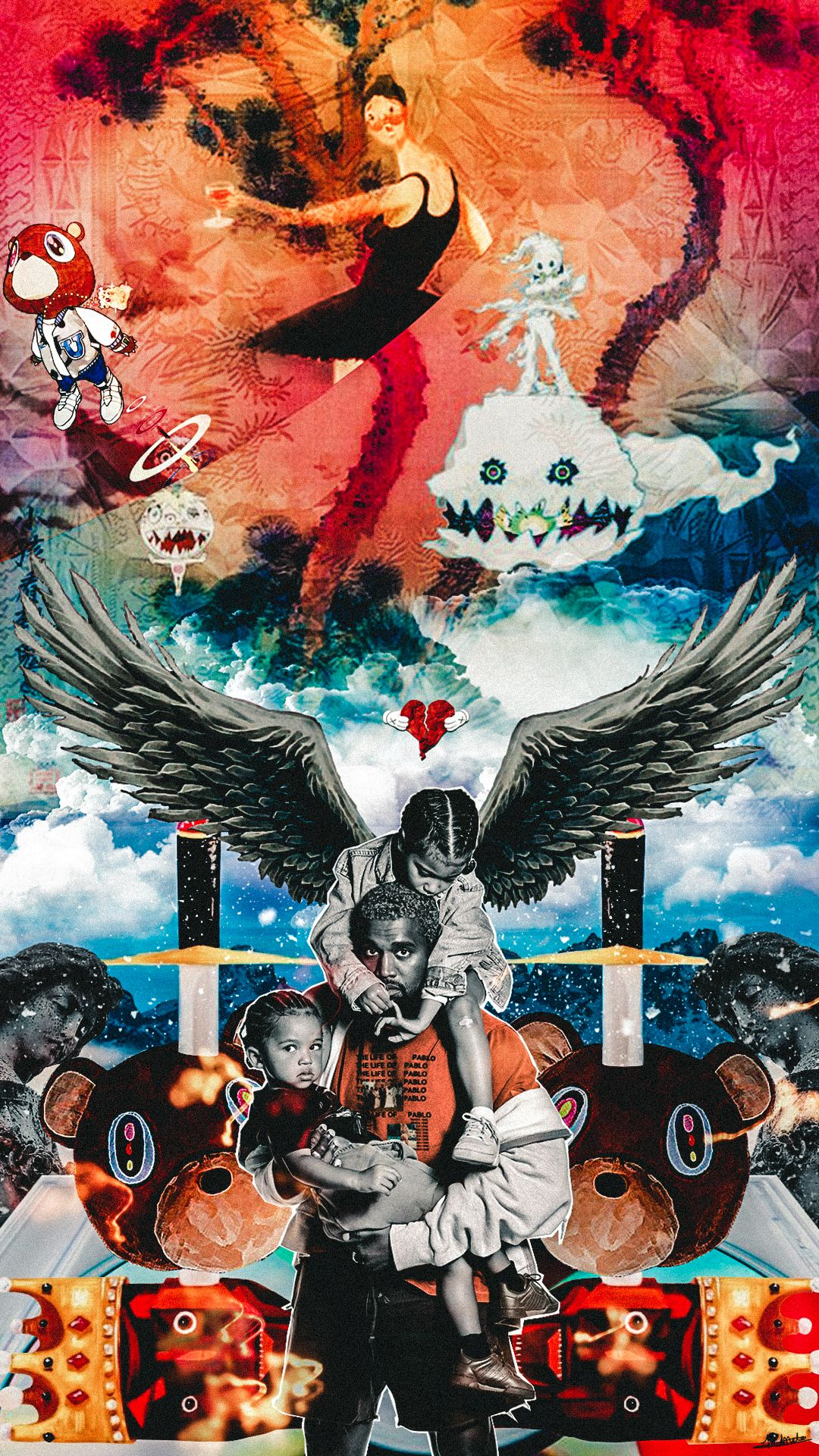 Kanye West Album Mesh Up Wallpaper In 2019 Rap Wallpaper