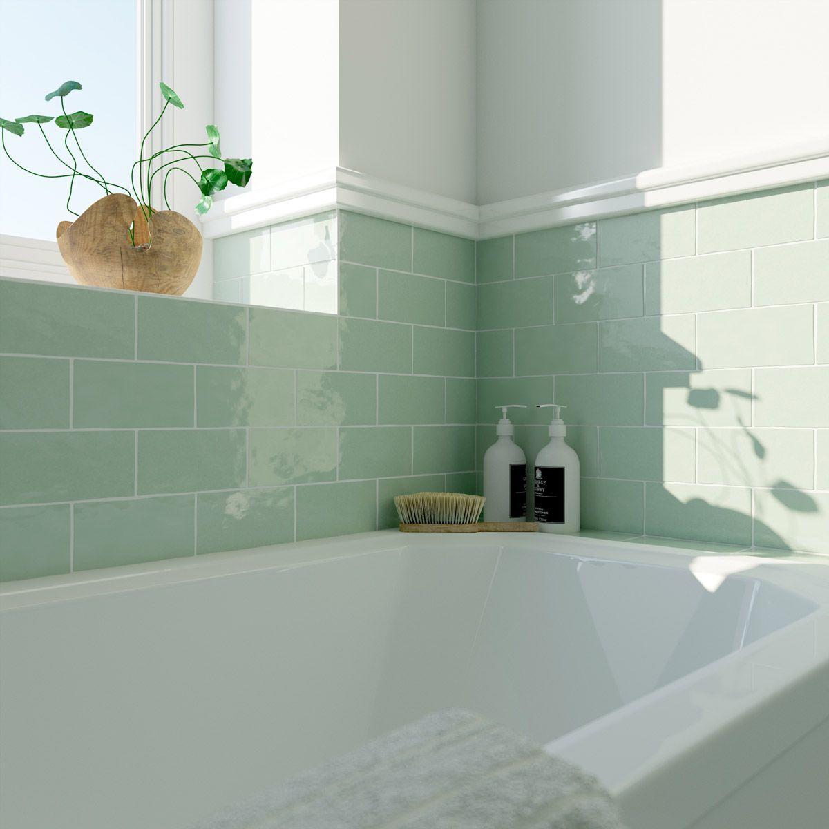 Laura Ashley Artisan Eau De Nil Green Gloss Wall Tile 75mm