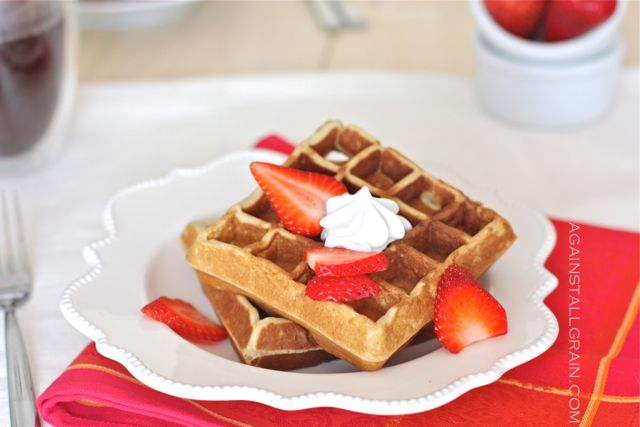 Fluffy waffles made from cashews.