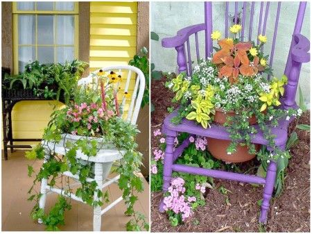 Mini jardines en sillas.