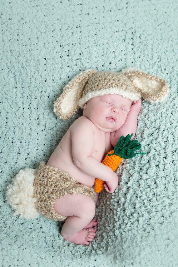 Baby Bunny Hat & Diaper Cover w Carrot Newborn 0 by NitaMaesGarden ...