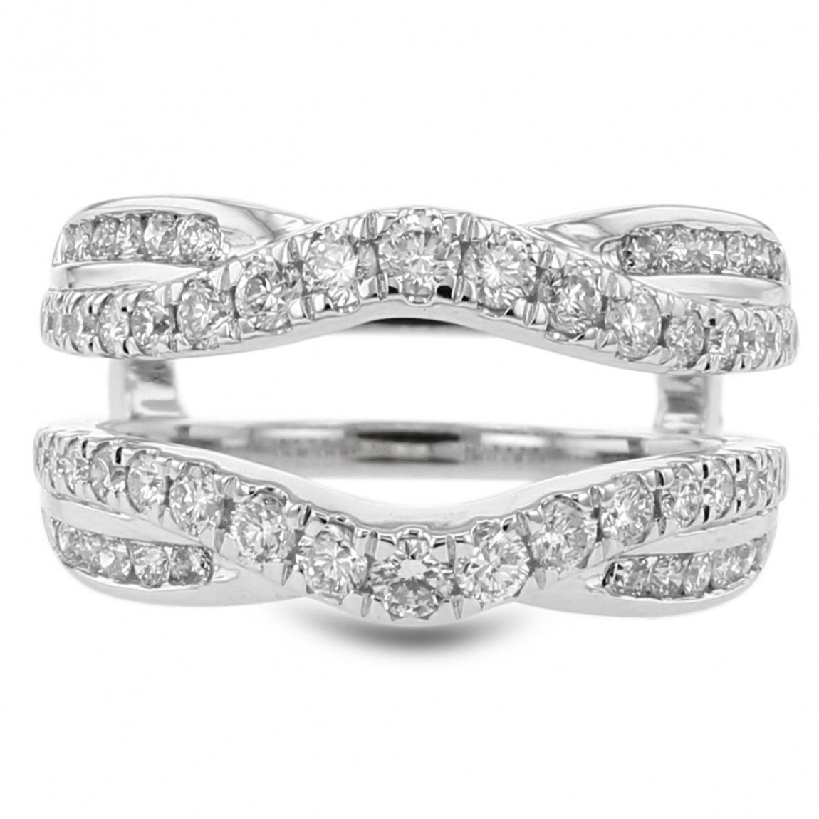 14K White Gold Curved Diamond Pave Cradle Wedding Band