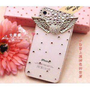 3d Bling Crystal Angel Wings Transparent Case, Cover for Apple Iphone4, 4g and 4s $5.70