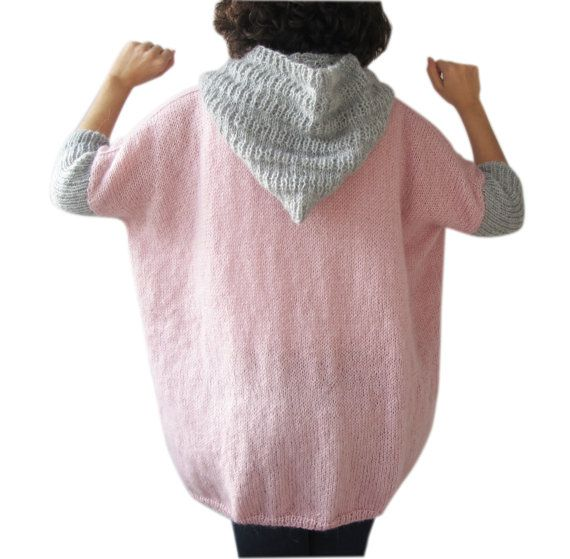 Cozy pink sweater hand knitted warm SALE