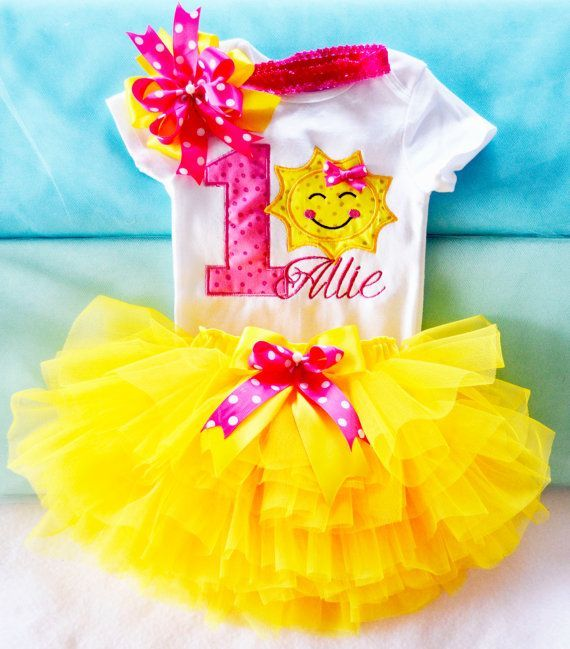 You Are My Sunshine Birthday Outfit, Sunshine Birthday Outfit, First Birthday Outfit Girl, 1st Birthday Girl in Pink yellow personalized