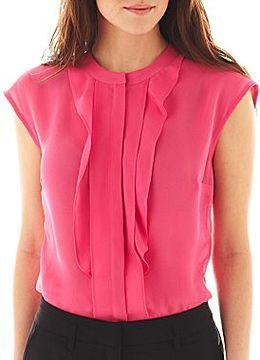 Jcpenney Worthington Cap Sleeve Ruffled Blouse Fashion In 2019
