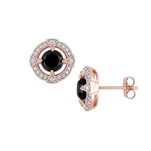 2 Ct Tw Black And White Diamond Earrings In 10k Rose Gold In 2020 White Diamond Earrings Earrings Diamond Earrings