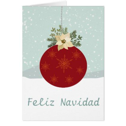 Feliz Navidad-Merry Christmas red bulb poinsettia Card - red gifts
