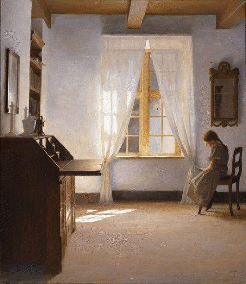 Peter Vilhelm Ilsted (Danimarca 1861-1933), Girl reading (1901)